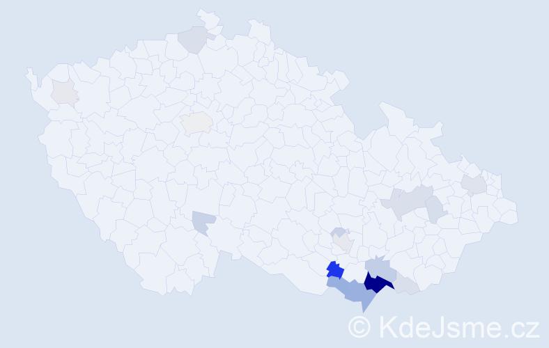 Příjmení: 'Konečková', počet výskytů 71 v celé ČR