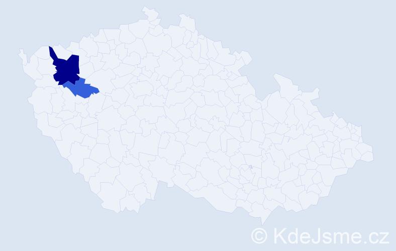 Příjmení: 'Lanczman', počet výskytů 7 v celé ČR
