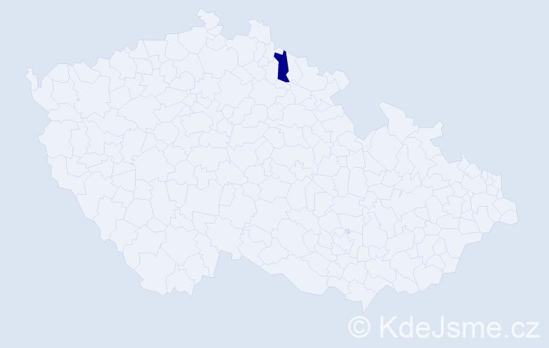 """Příjmení: '""""Lampei Bucharová""""', počet výskytů 1 v celé ČR"""