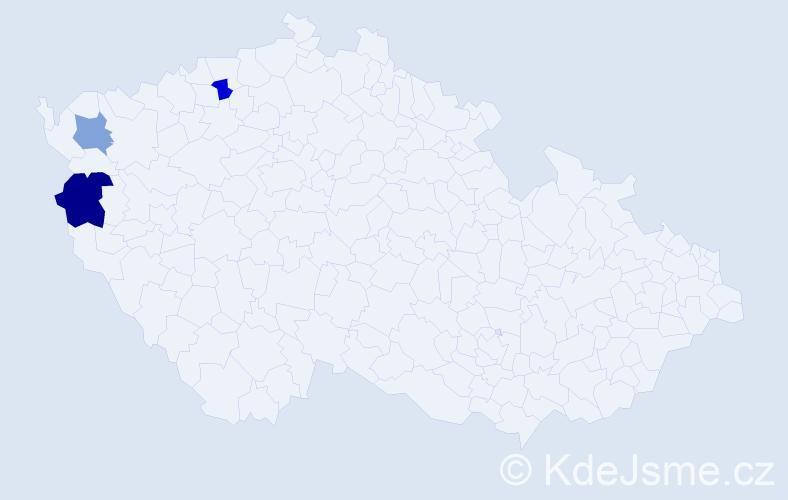Příjmení: 'Ladics', počet výskytů 4 v celé ČR