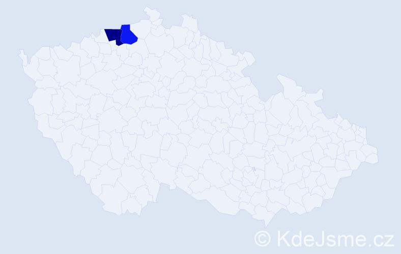 Příjmení: 'Kaltman', počet výskytů 9 v celé ČR
