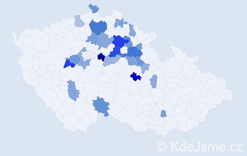 Příjmení: 'Koros', počet výskytů 71 v celé ČR