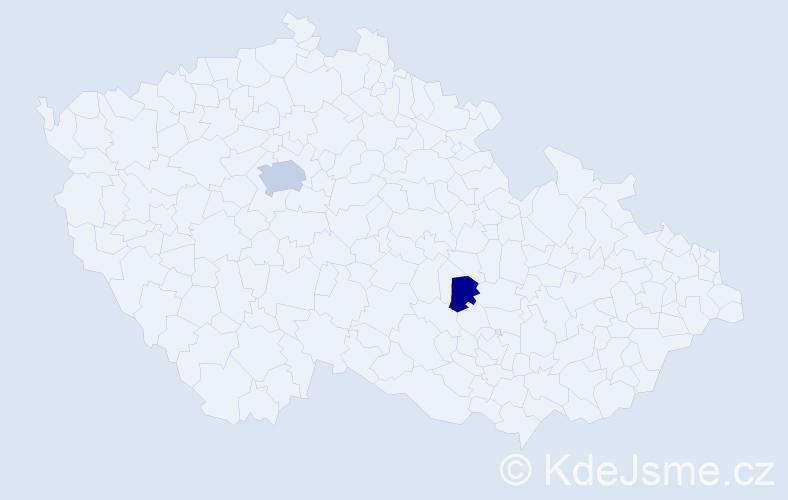 Příjmení: 'Kabongo', počet výskytů 4 v celé ČR