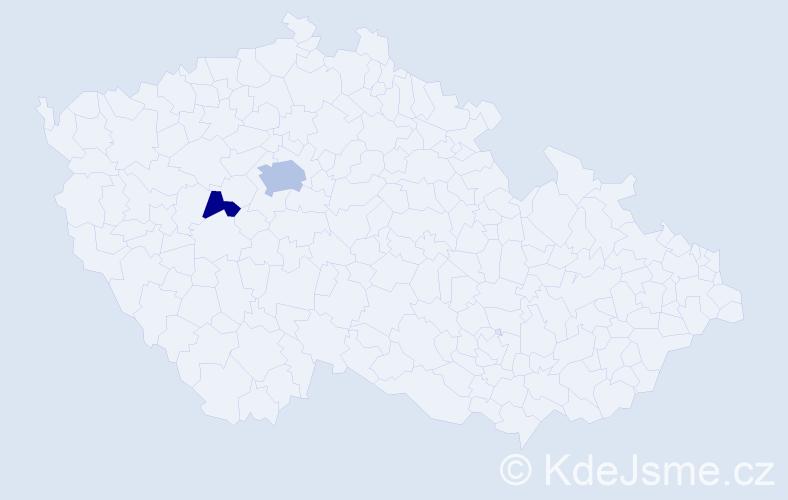 Příjmení: 'Kavínek', počet výskytů 4 v celé ČR