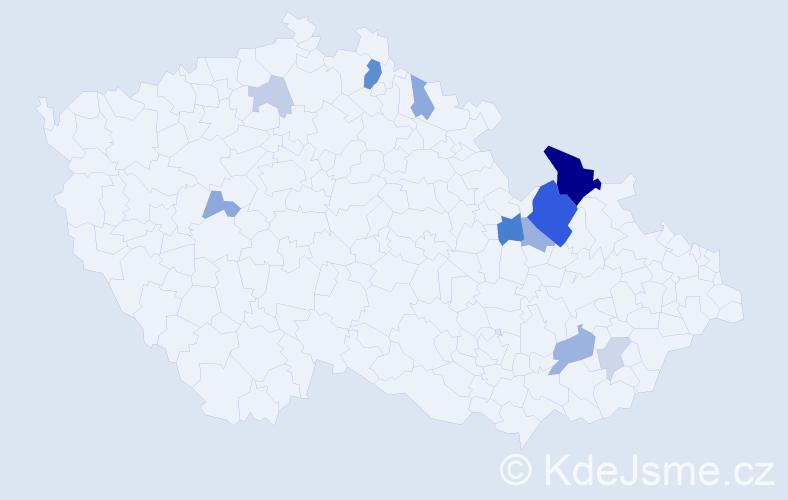 Příjmení: 'Joklík', počet výskytů 27 v celé ČR