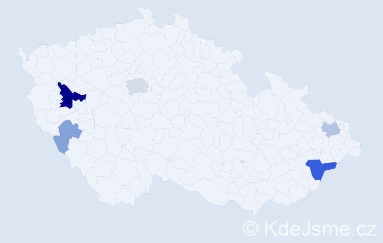 Příjmení: 'Krajčíová', počet výskytů 13 v celé ČR