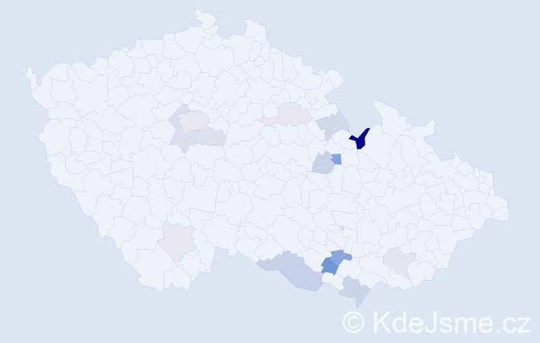 Příjmení: 'Hošpesová', počet výskytů 30 v celé ČR
