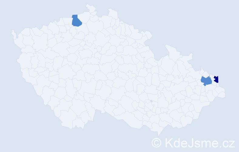 Příjmení: 'Kačíová', počet výskytů 9 v celé ČR