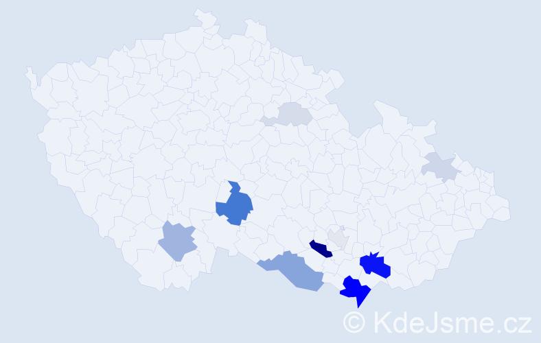 Příjmení: 'Karlín', počet výskytů 32 v celé ČR