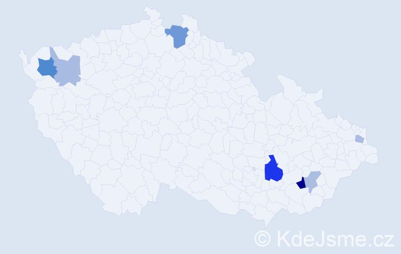 Příjmení: 'Kolenič', počet výskytů 15 v celé ČR