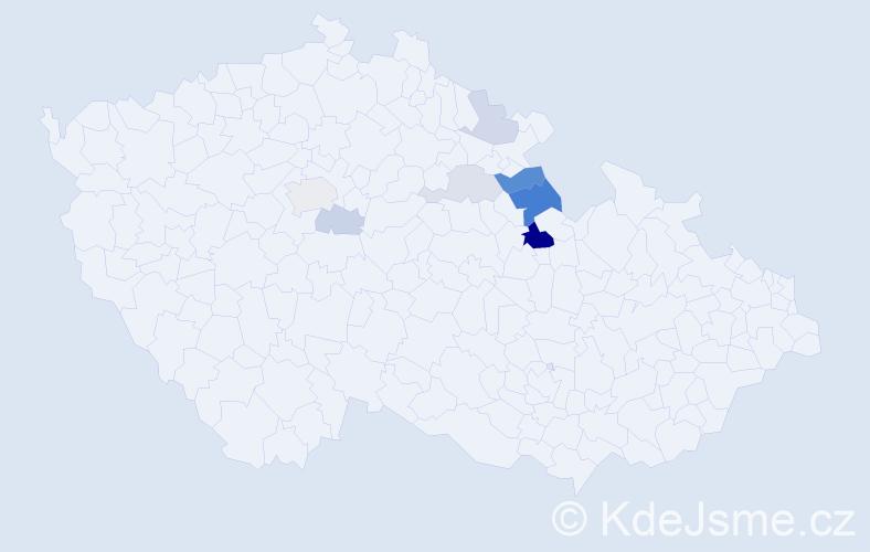 Příjmení: 'Kubasa', počet výskytů 17 v celé ČR