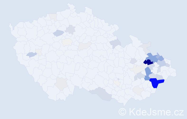 Příjmení: 'Burdík', počet výskytů 158 v celé ČR