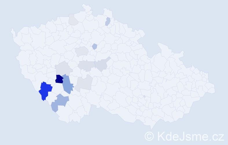 Příjmení: 'Čabrádková', počet výskytů 35 v celé ČR