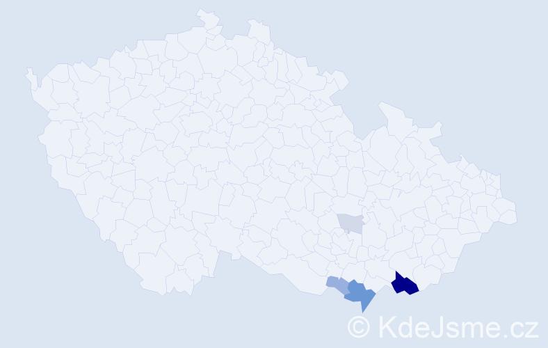 Příjmení: 'Kristoňová', počet výskytů 19 v celé ČR