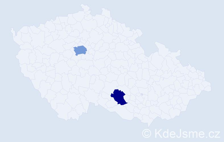 Příjmení: 'Božko', počet výskytů 4 v celé ČR