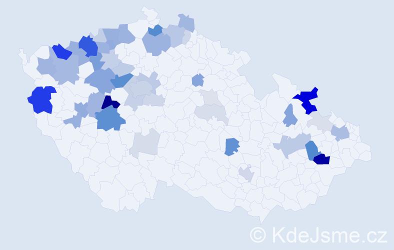 Příjmení: 'Ječmen', počet výskytů 158 v celé ČR