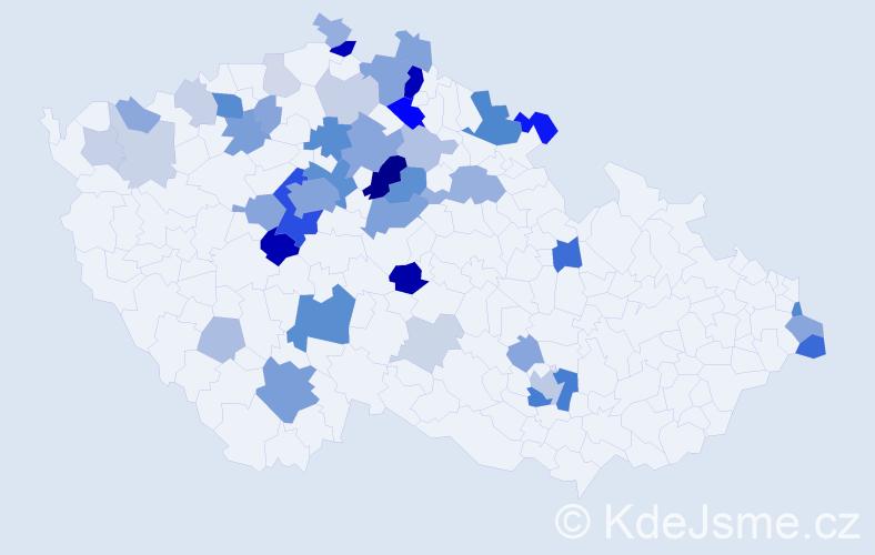 Příjmení: 'Cicvárková', počet výskytů 141 v celé ČR