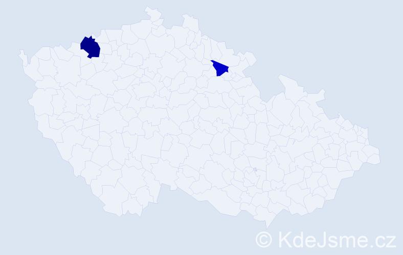 Příjmení: 'Evren', počet výskytů 4 v celé ČR