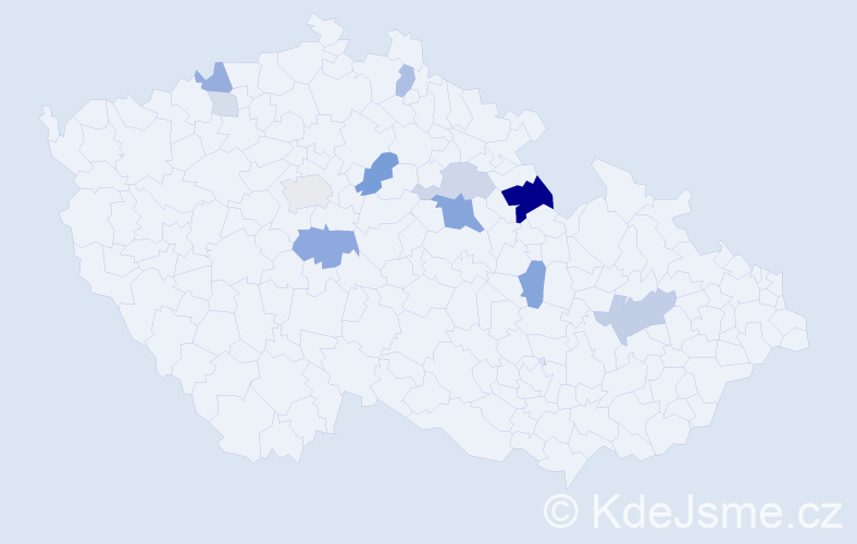 Příjmení: 'Klec', počet výskytů 36 v celé ČR
