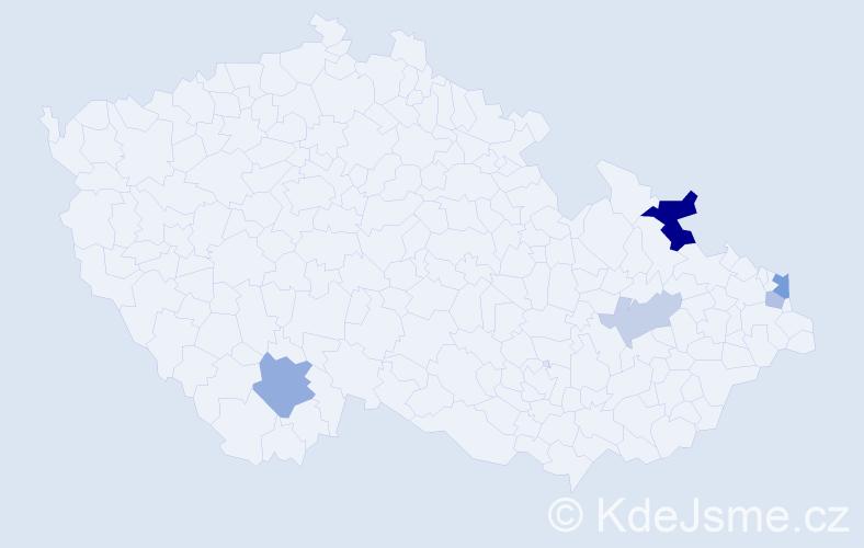 Příjmení: 'Klimošková', počet výskytů 10 v celé ČR