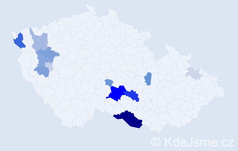 Příjmení: 'Deraha', počet výskytů 46 v celé ČR