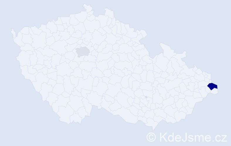 Příjmení: 'Kubok', počet výskytů 3 v celé ČR