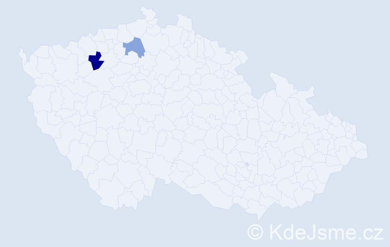 Příjmení: 'Čámek', počet výskytů 3 v celé ČR