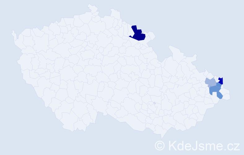Příjmení: 'Jusku', počet výskytů 7 v celé ČR