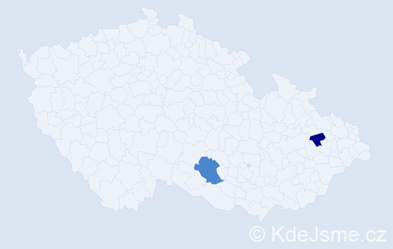 Příjmení: 'Kaima', počet výskytů 3 v celé ČR