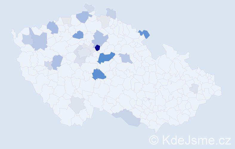 Příjmení: 'Bošinová', počet výskytů 94 v celé ČR