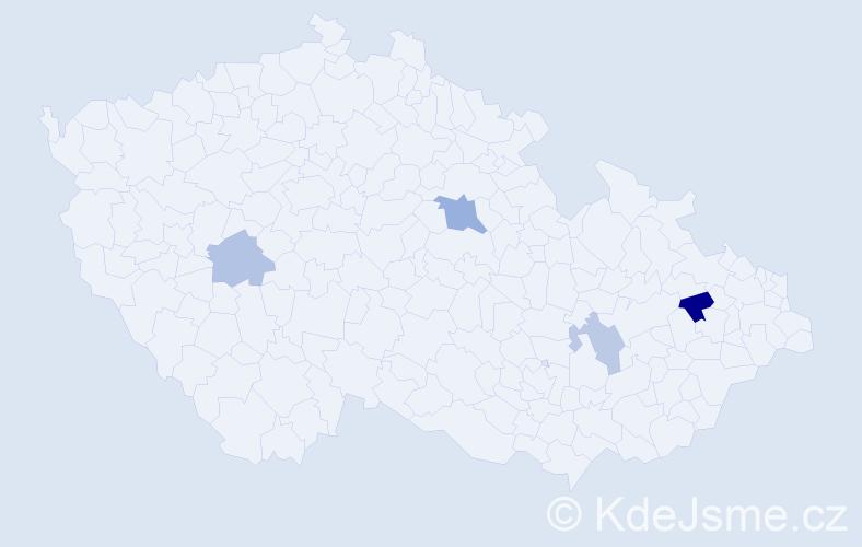 Příjmení: 'Kaňuščák', počet výskytů 6 v celé ČR