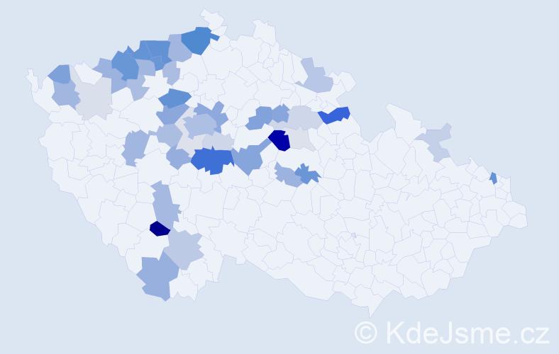 Příjmení: 'Cestrová', počet výskytů 136 v celé ČR