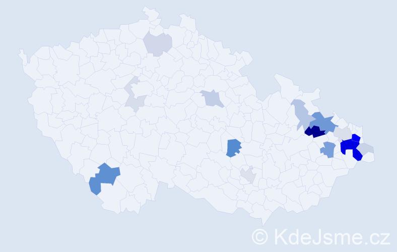 Příjmení: 'Jurošová', počet výskytů 57 v celé ČR