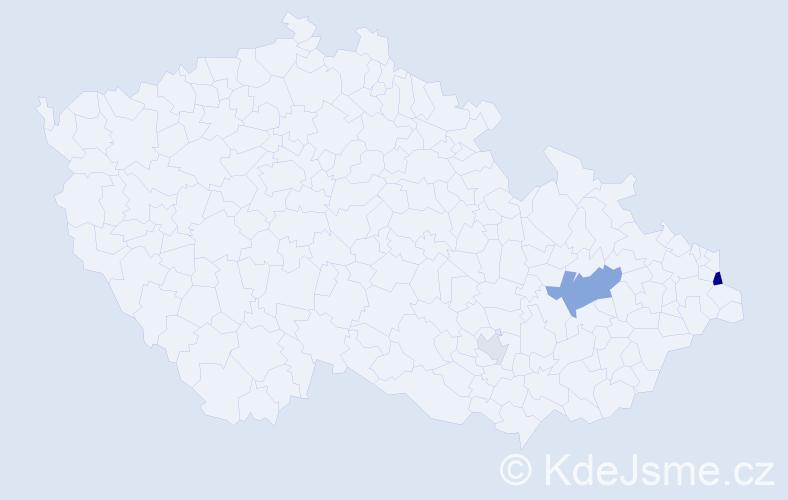 Příjmení: 'Děkaník', počet výskytů 7 v celé ČR