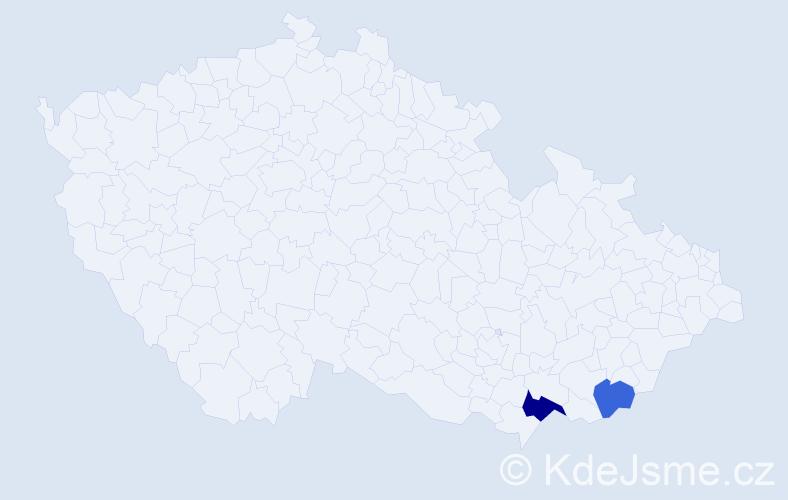 Příjmení: 'Jevčaková', počet výskytů 3 v celé ČR