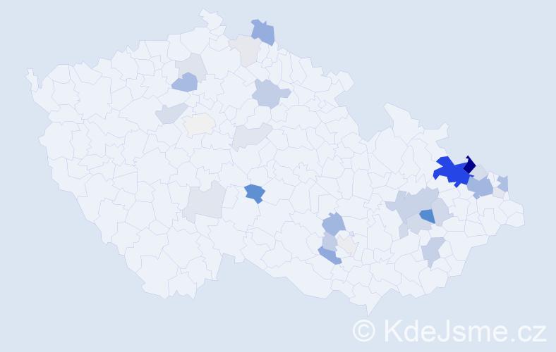 Příjmení: 'Kostřica', počet výskytů 87 v celé ČR