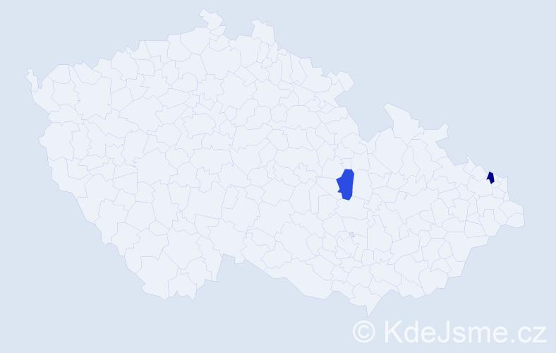 Příjmení: 'Hertvík', počet výskytů 5 v celé ČR