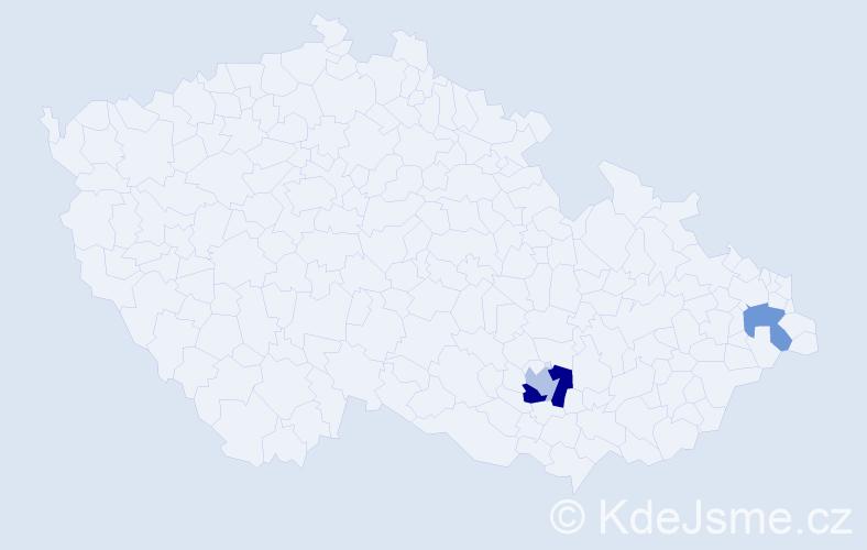 Příjmení: 'Csanády', počet výskytů 4 v celé ČR