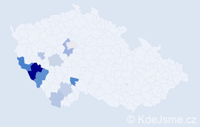 Příjmení: 'Hanigerová', počet výskytů 31 v celé ČR