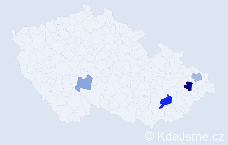 Příjmení: 'Bienek', počet výskytů 9 v celé ČR