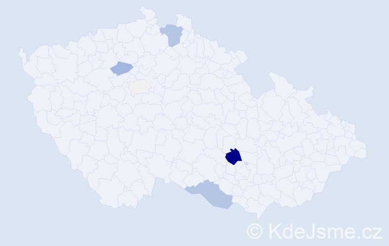 Příjmení: 'Halala', počet výskytů 19 v celé ČR