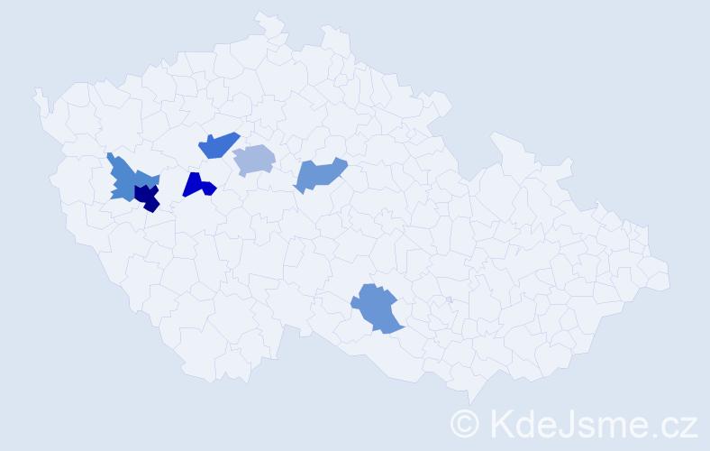 Příjmení: 'Elgerová', počet výskytů 15 v celé ČR