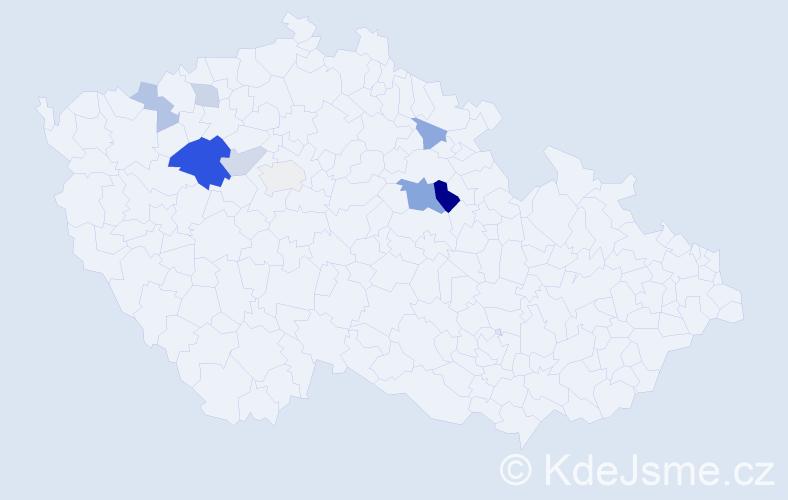 Příjmení: 'Číhařová', počet výskytů 18 v celé ČR