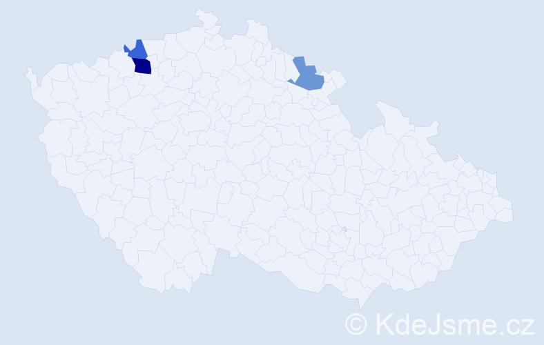 Příjmení: 'Ihnačinec', počet výskytů 5 v celé ČR