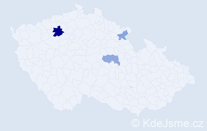 Příjmení: 'Lalka', počet výskytů 5 v celé ČR