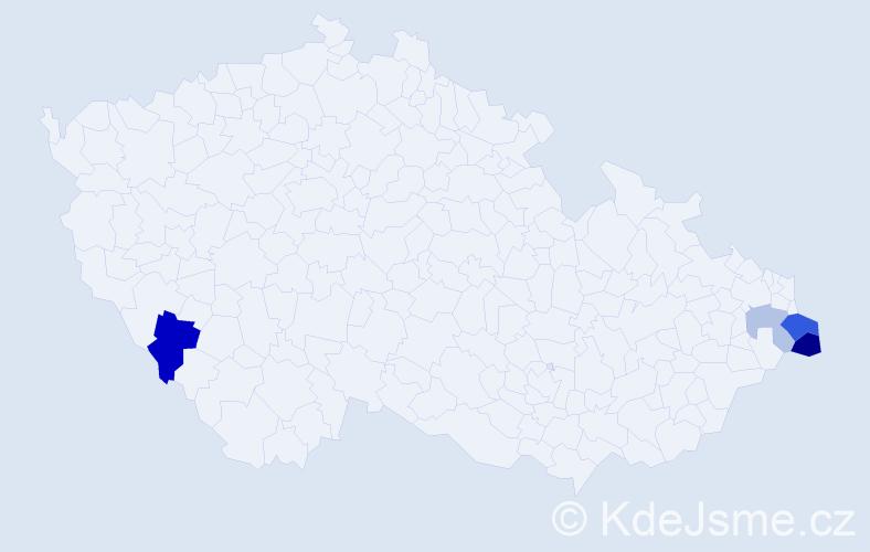 Příjmení: 'Karczová', počet výskytů 8 v celé ČR