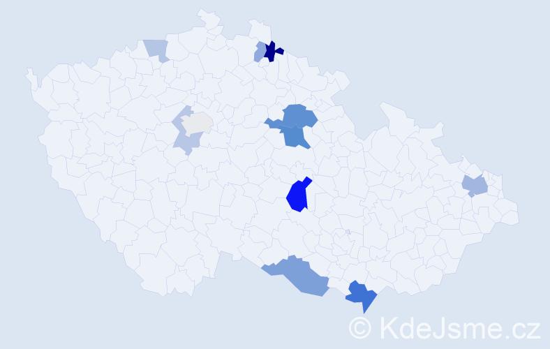 Příjmení: 'Čičková', počet výskytů 25 v celé ČR