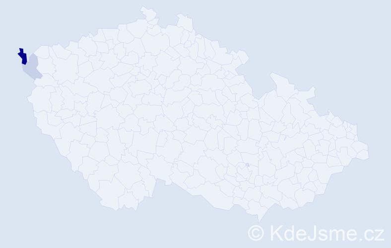 Příjmení: 'Erndová', počet výskytů 5 v celé ČR