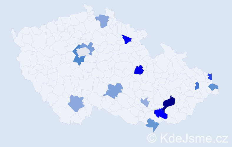 Příjmení: 'Józsa', počet výskytů 21 v celé ČR