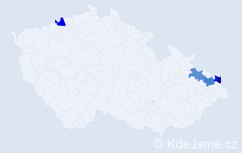 Příjmení: 'Gracik', počet výskytů 8 v celé ČR